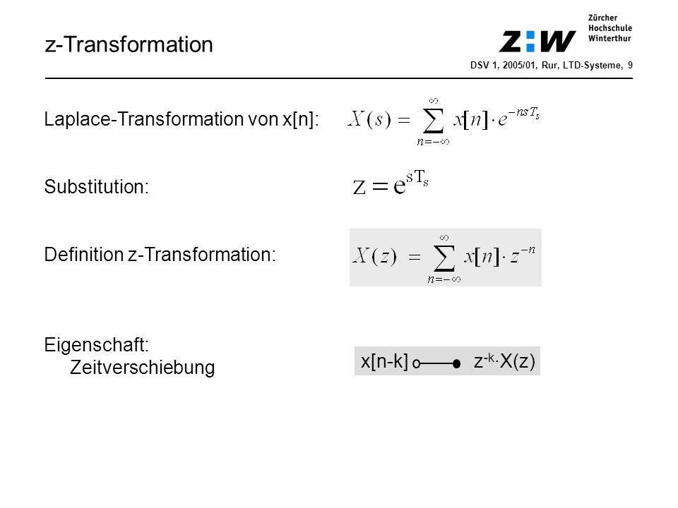z-Transformation Laplace-Transformation von x[n]: Substitution: